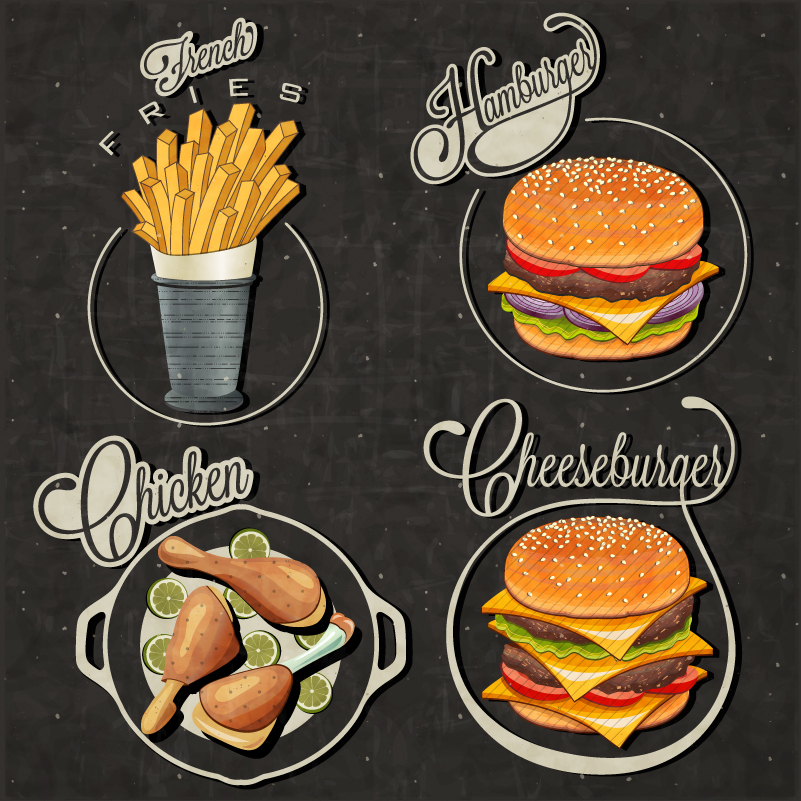 Fast Food Labels Vector