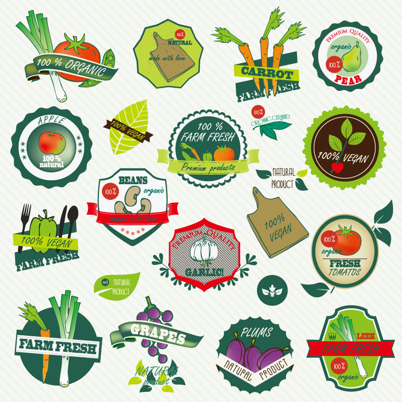 Fresh Fruit and Vegetable Labels Vector