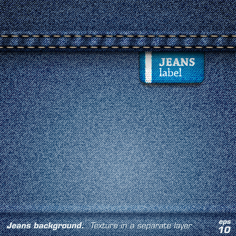 Jeans Texture Label Background Vector