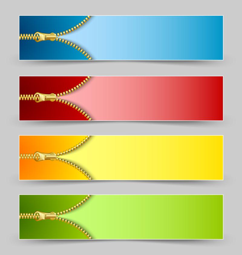 Metal Zipper Banner Vector