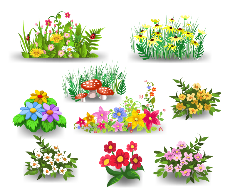 Nine Cartoon Flowers Design Vector