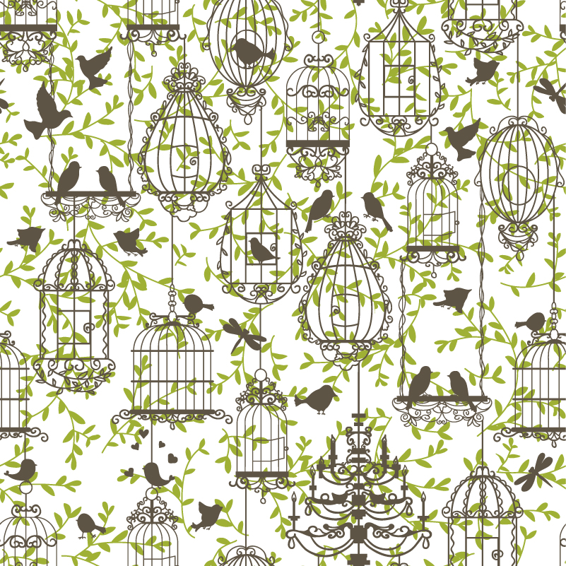 Painted Birds and Birdcages Vector