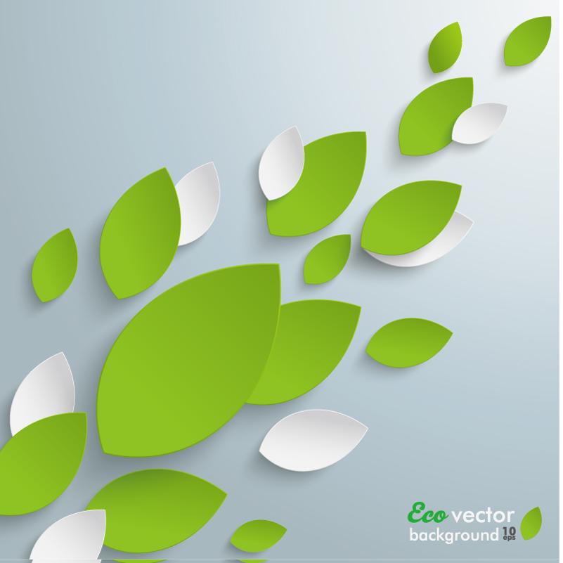 Paper-cut Leaves Background Vector