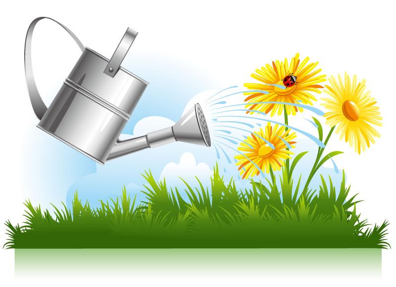 Pots and Garden Sprinkler Background Vector