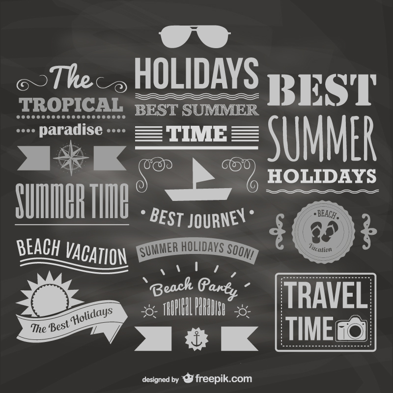 Summer Holiday Time Wordart Vector