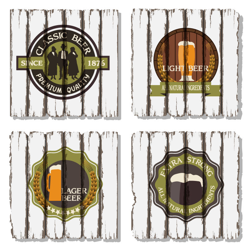 Vintage Classic Beer Elements Icons Vector