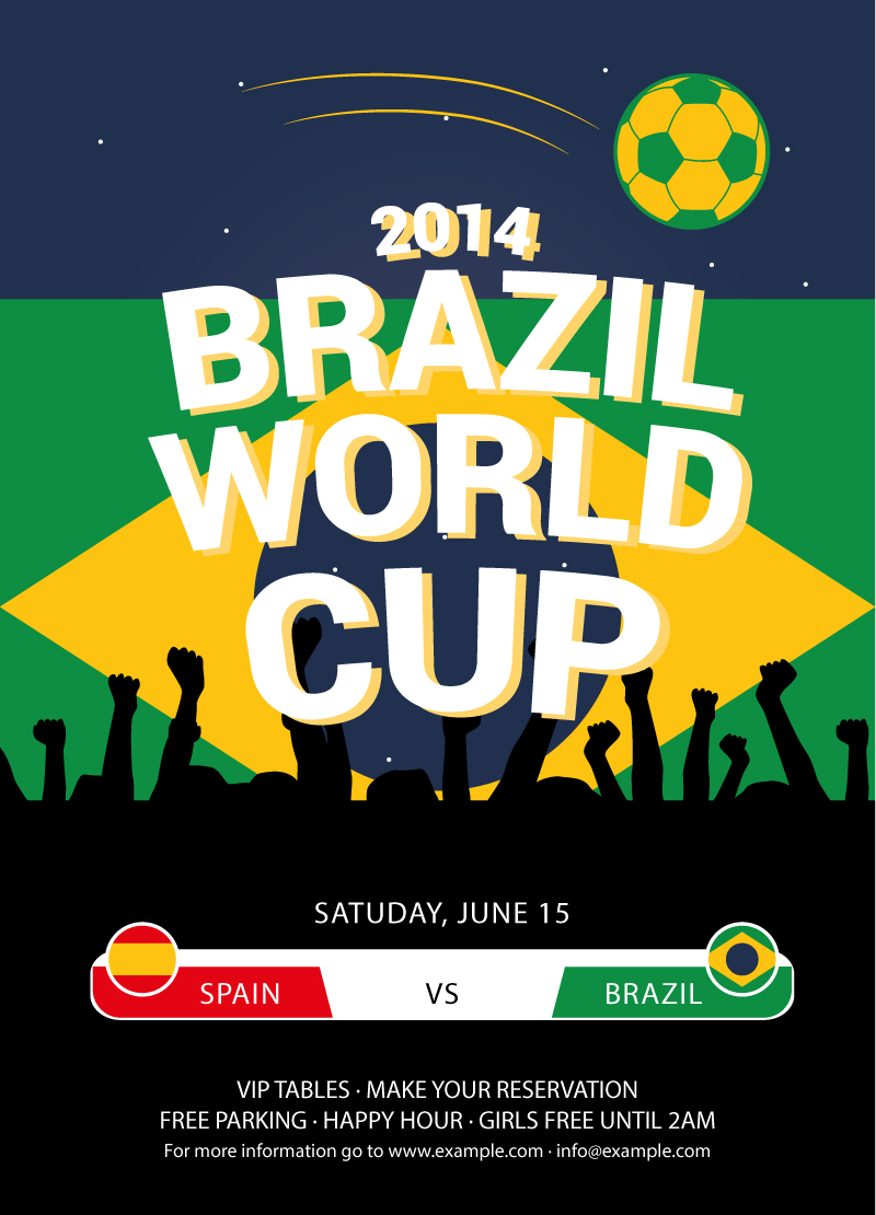 2014 Brazil World Cup Poster Vector