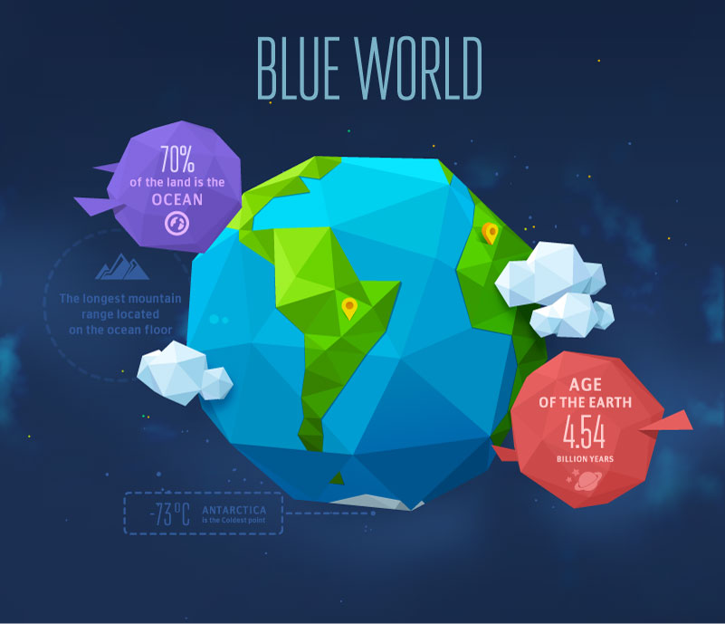 Blue World Origami Earth Vector