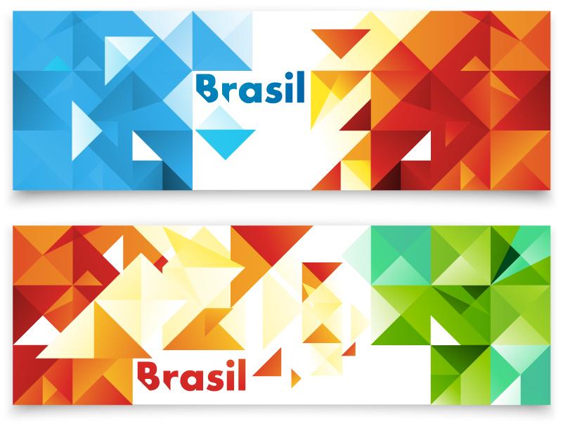 Colorful Brasil Triangle Banner Vector