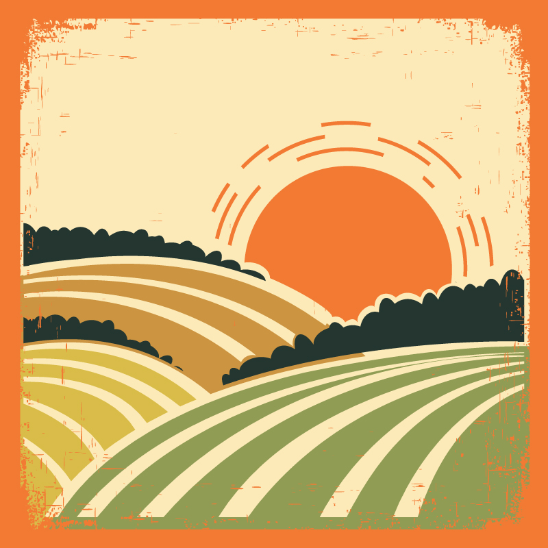 Retro Sunset Stick Figure Vector