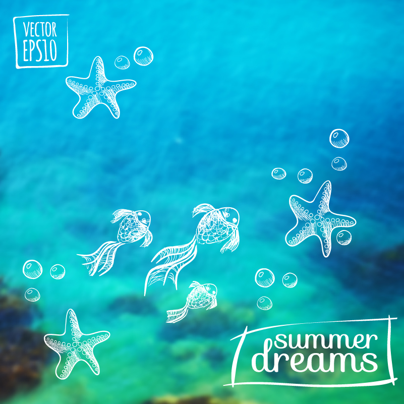 Summer Underwater World Dreams Vector