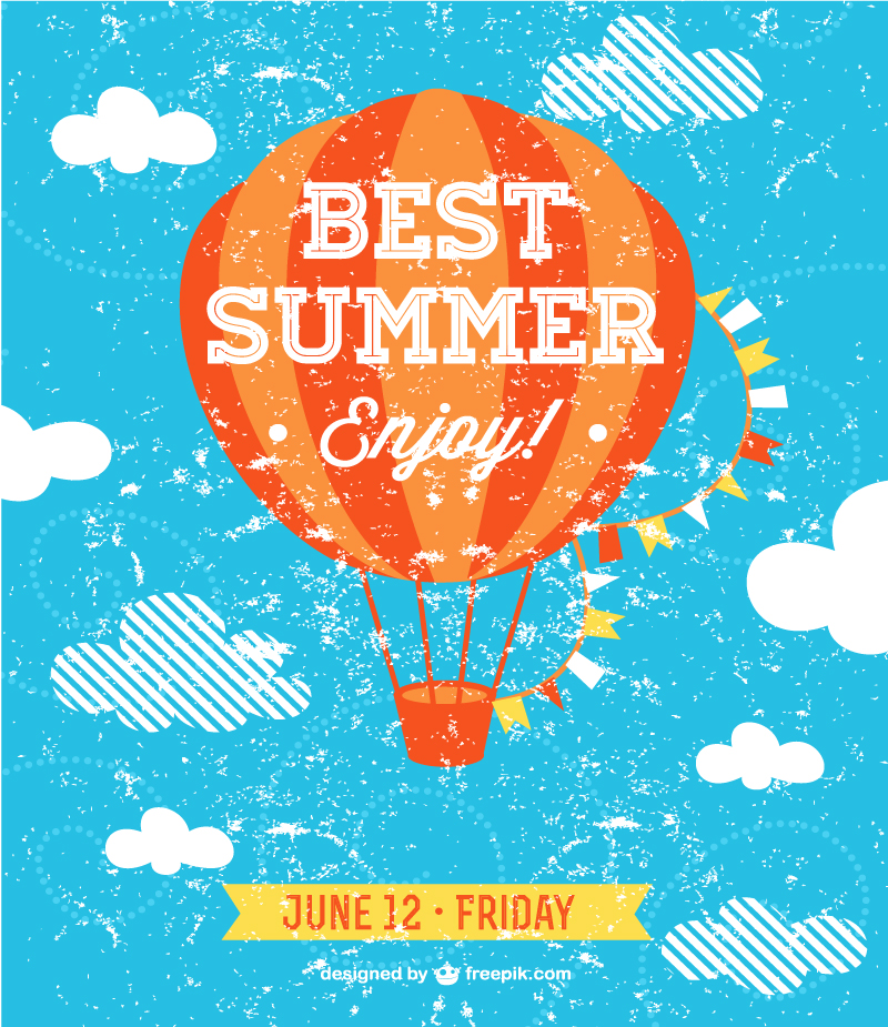 Vintage Best Summer Enjoy Vector