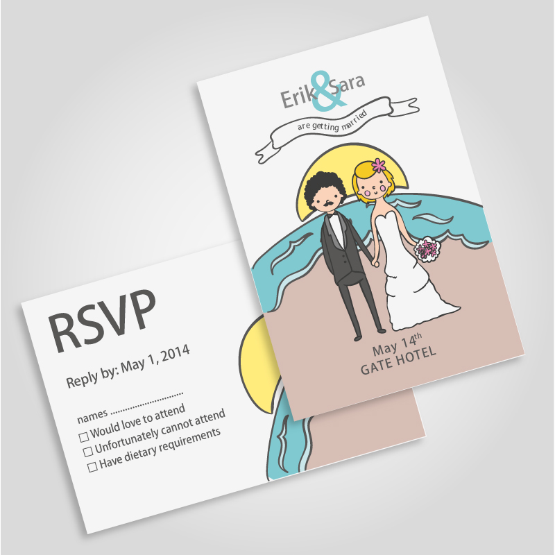 Wedding Post Card Vector