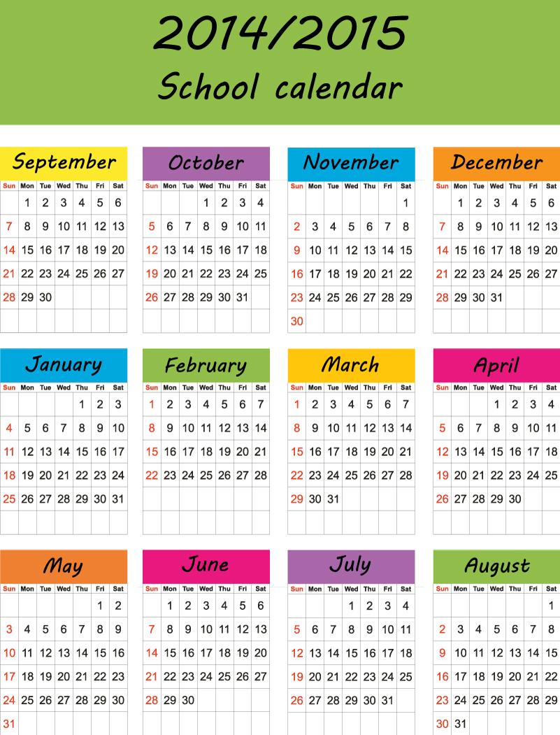 2014-2015 School Calendar Vector