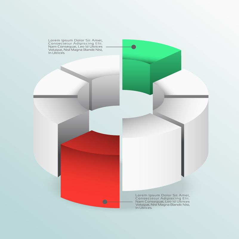 3D Pie Chart Infographics Vector