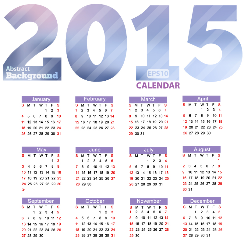 Abstract Stripes Calendar 2015 Vector