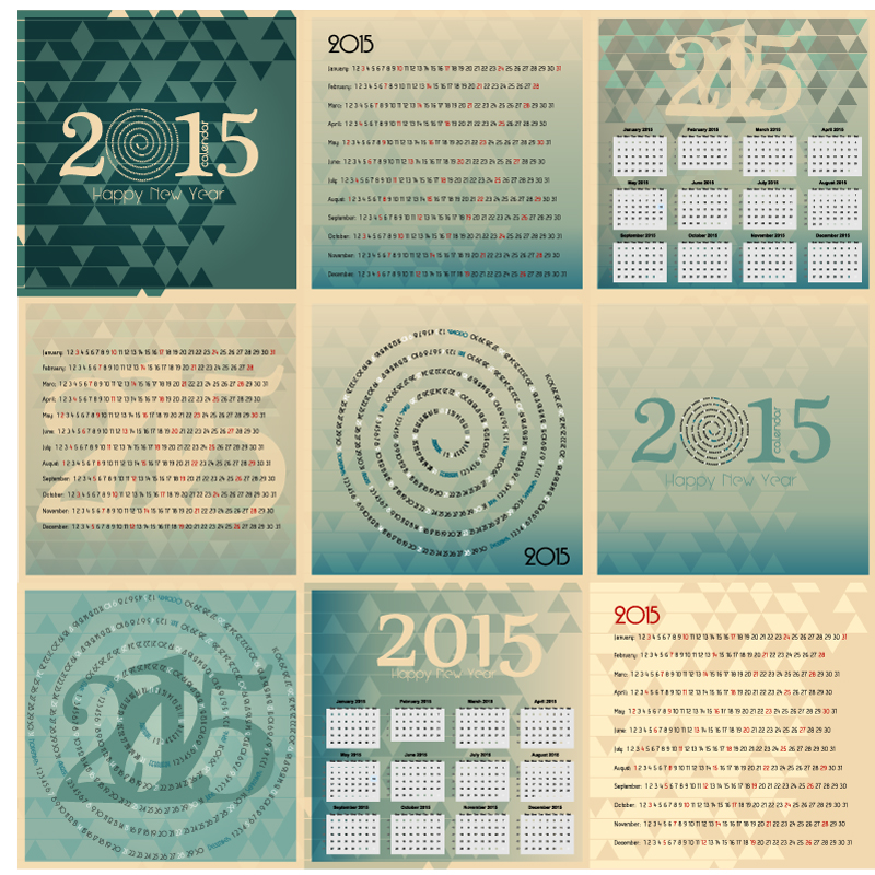 Calendar 2015 Happy New Year Vector