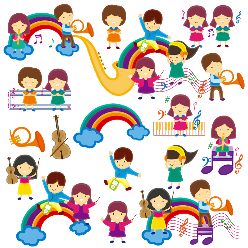 Cartoon Children Music Theme Vector