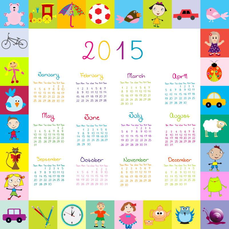 Cartoon Kids Toys Calendar 2015 Vector
