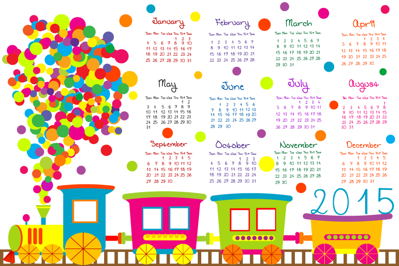 Cartoon Train Calendar 2015 Vector