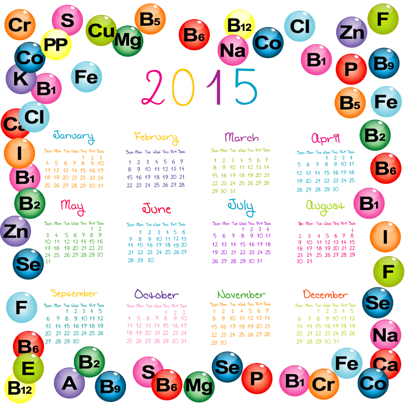 Chemical Elements Calendar 2015 Vector
