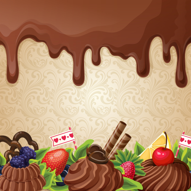Chocolate and Desserts Background Vector
