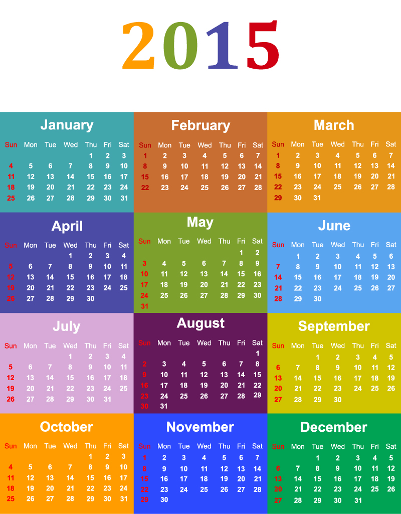 Color Calendar 2015 Vector | Free Vector Graphic Download