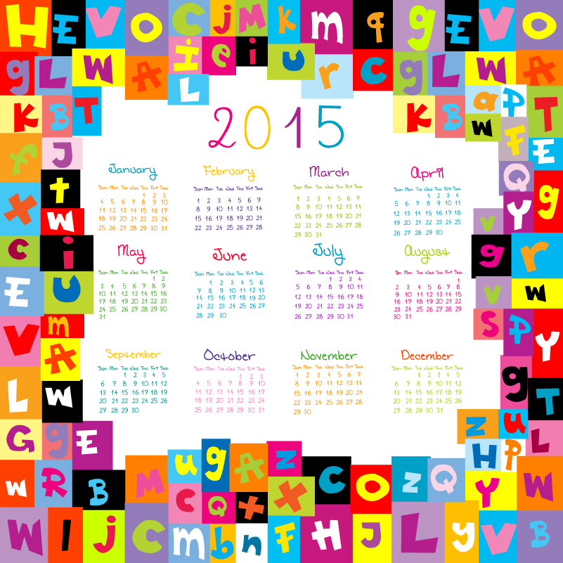 Colorful Alphabet Calendar 2015 Vector