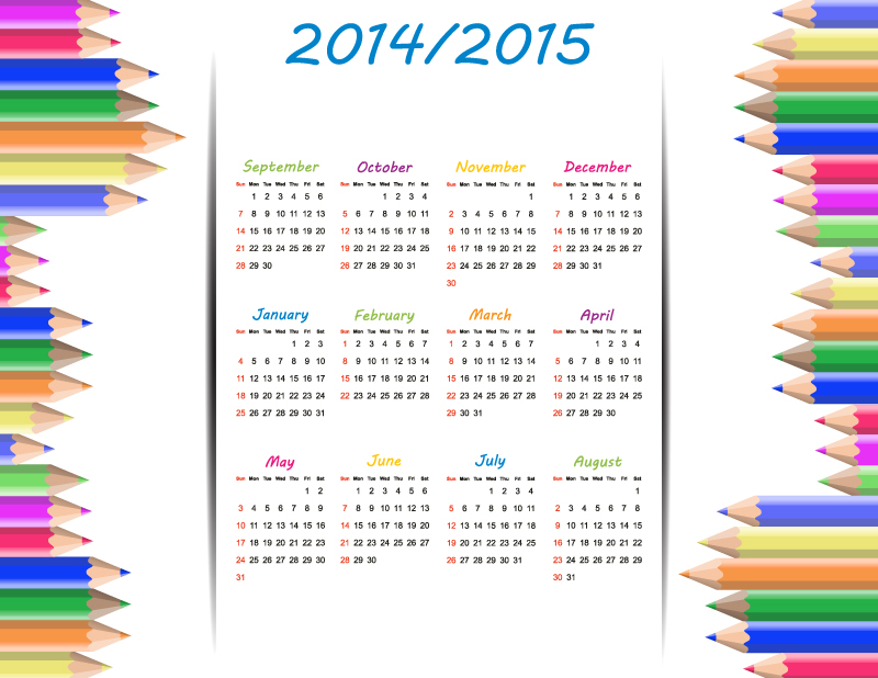 Colorful Pencil Academic Year 2014-2015 Vector