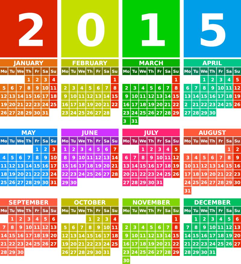 Colorful Squares Calendar 2015 Vector