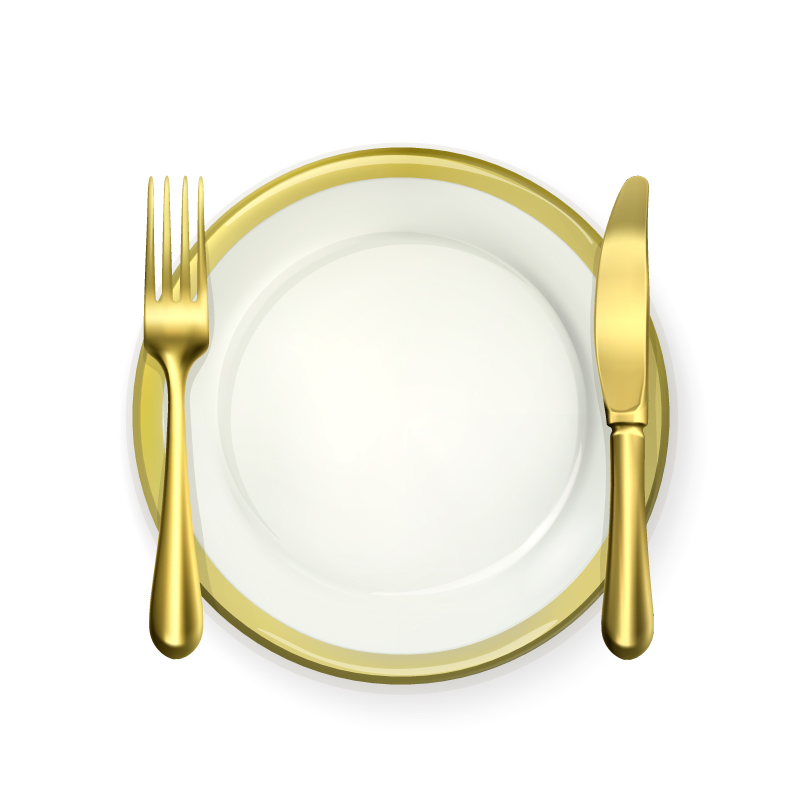 Golden Plate with Knife and Fork Vector