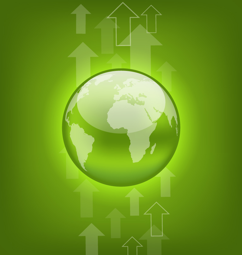 Green Earth and Arrow Vector