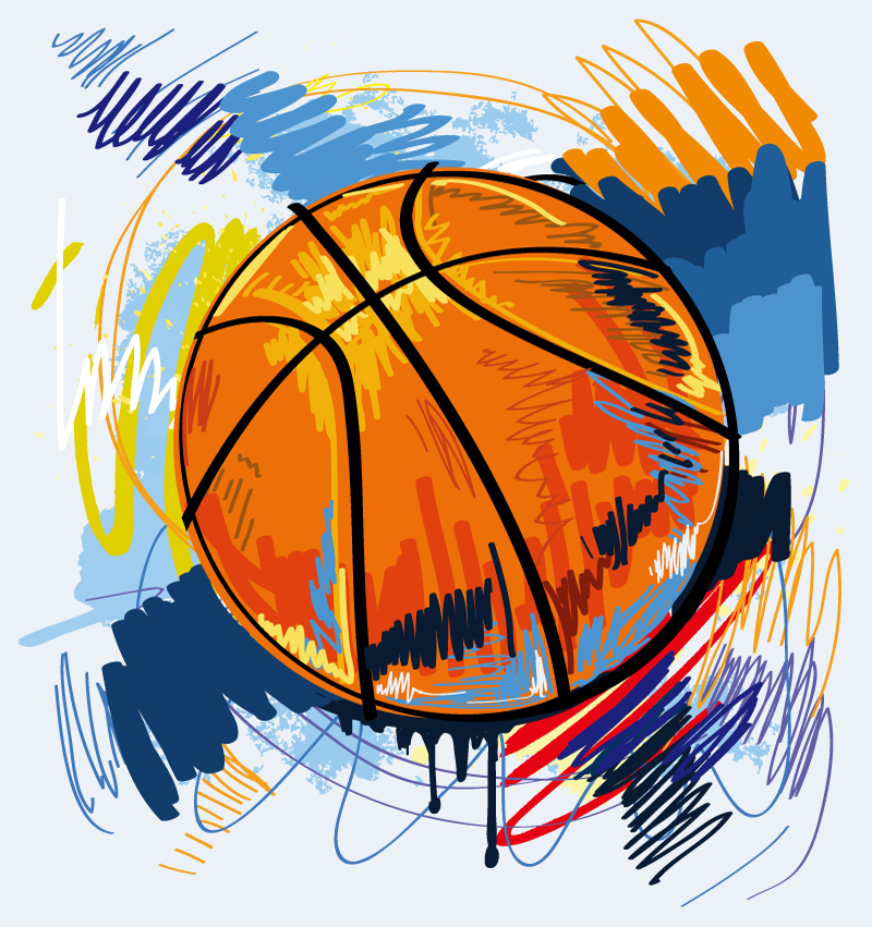 Hand Drawn Basketball Vector
