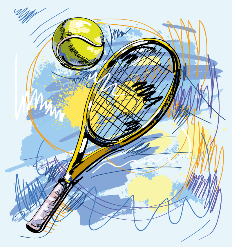 Hand Drawn Tennis Racket Vector