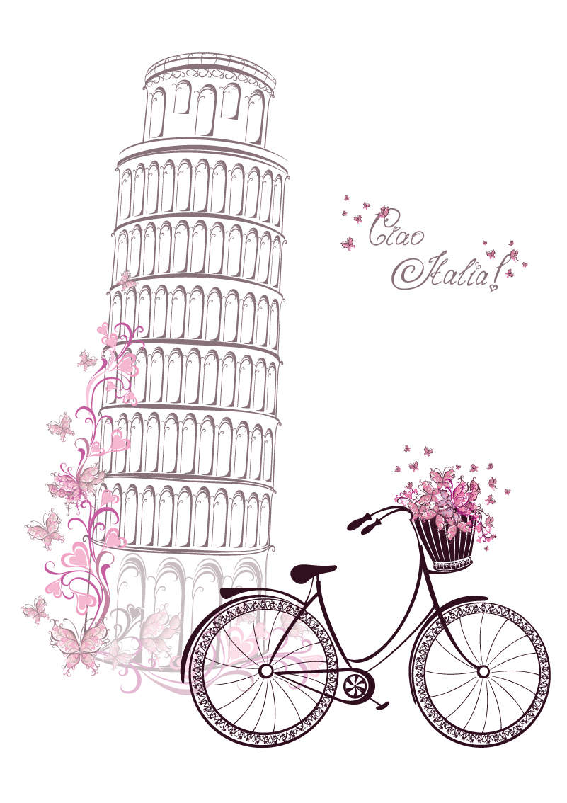Italy Leaning Tower of Pisa and Bike Vector