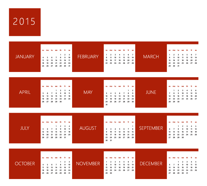 Red Style Calendar 2015 Vector