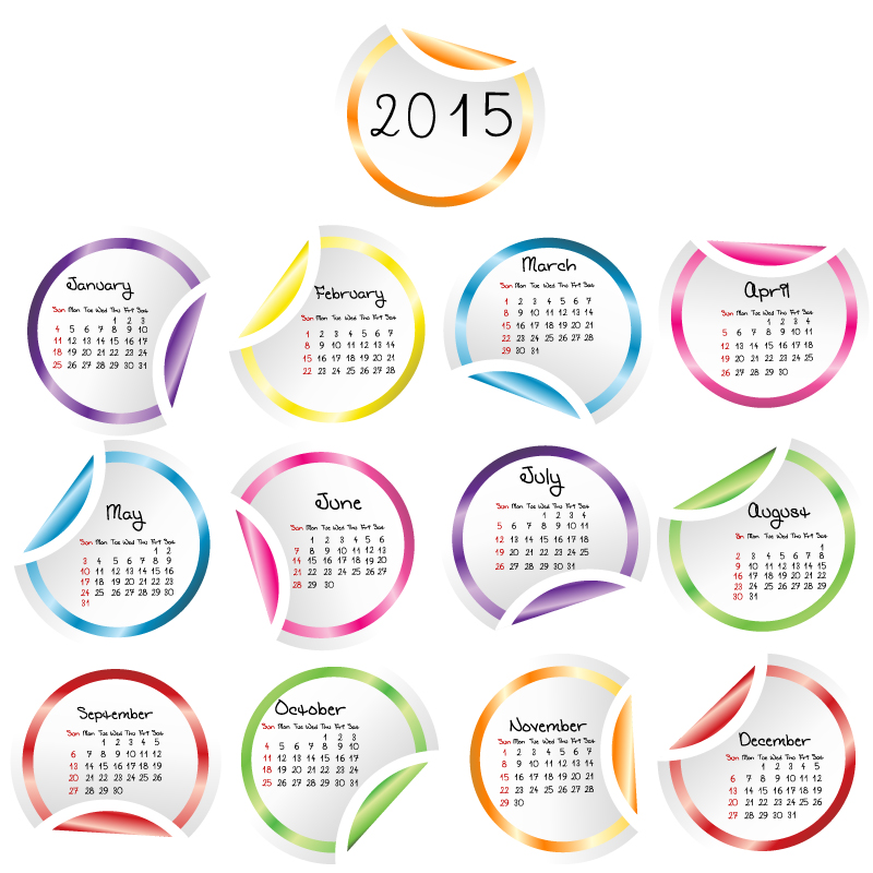 Roll Angle Stickers Calendar 2015 Vector