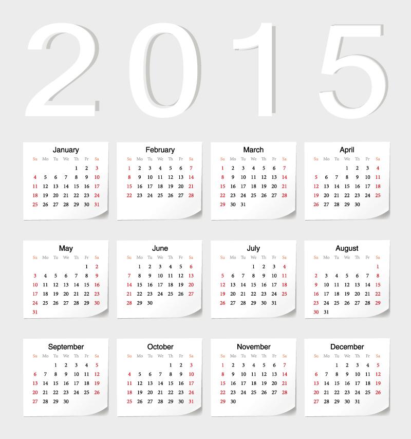 Simple Calendar 2015 Vector