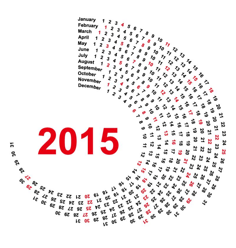 Spiral Calendar 2015 Vector