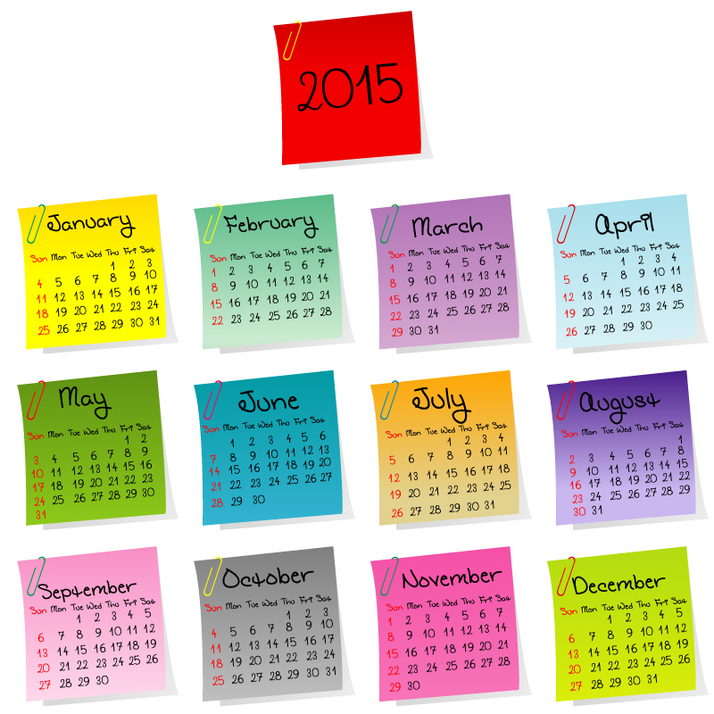 Stickers Calendar 2015 Vector