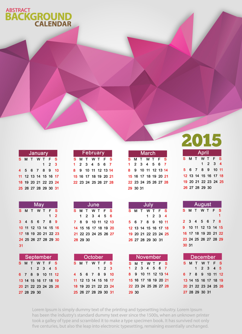 Abstract Background Calendar 2015 Vector