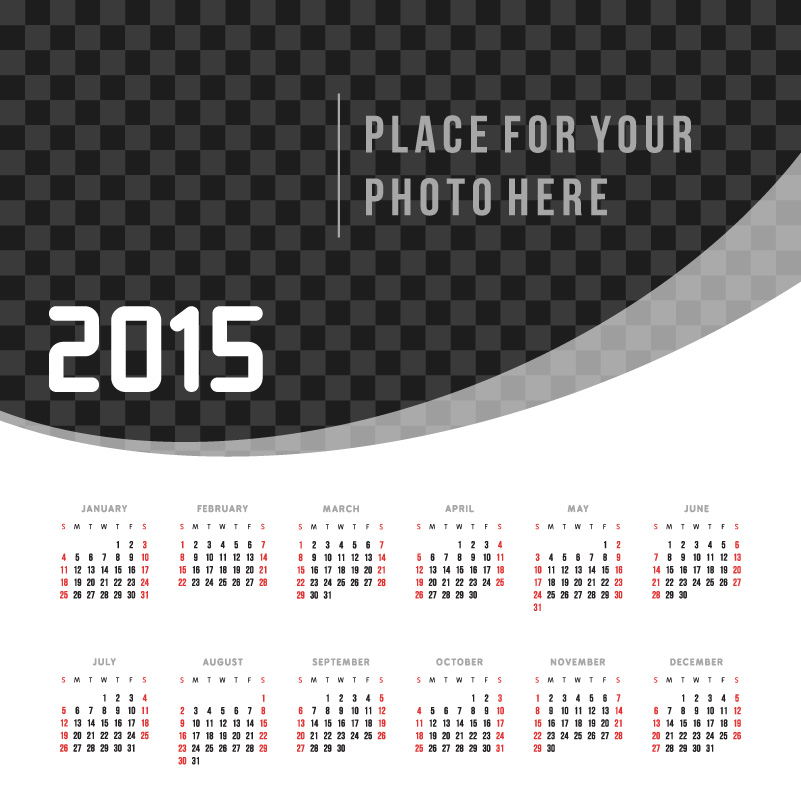 Black And White Plaid Calendar 2015 Vector Free Vector Graphic