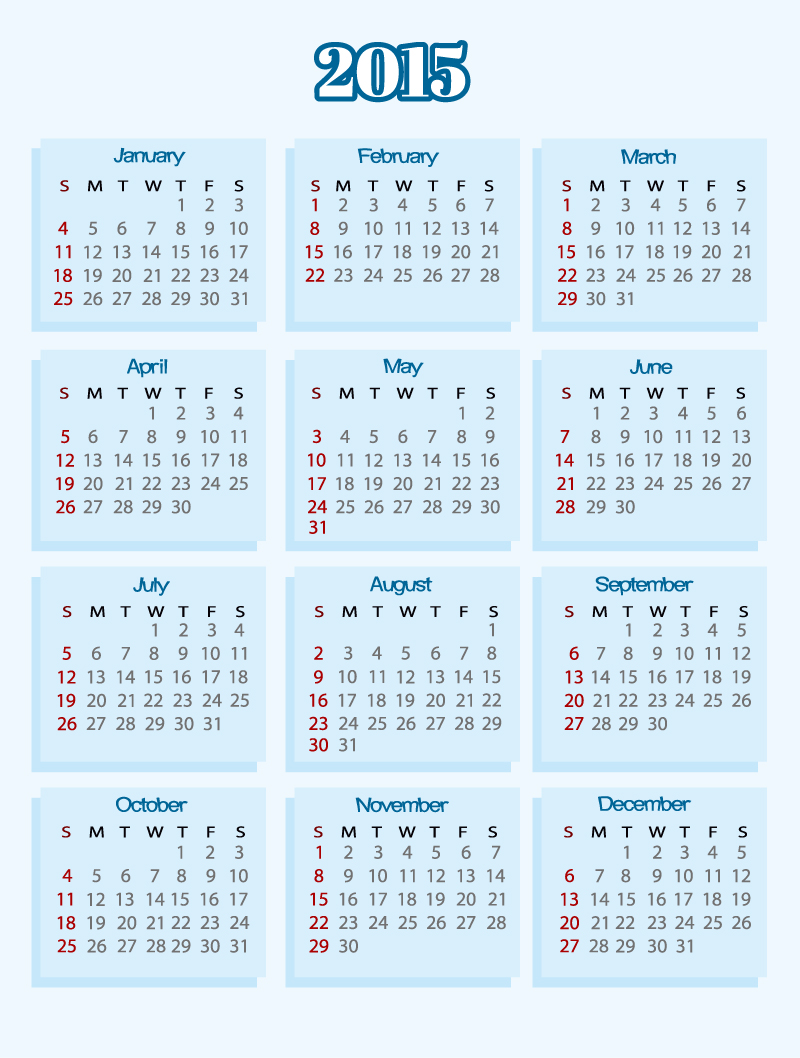 Blue Simple Calendar 2015 Vector