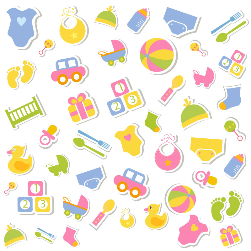 Cartoon Children Toys Stickers Background Vector