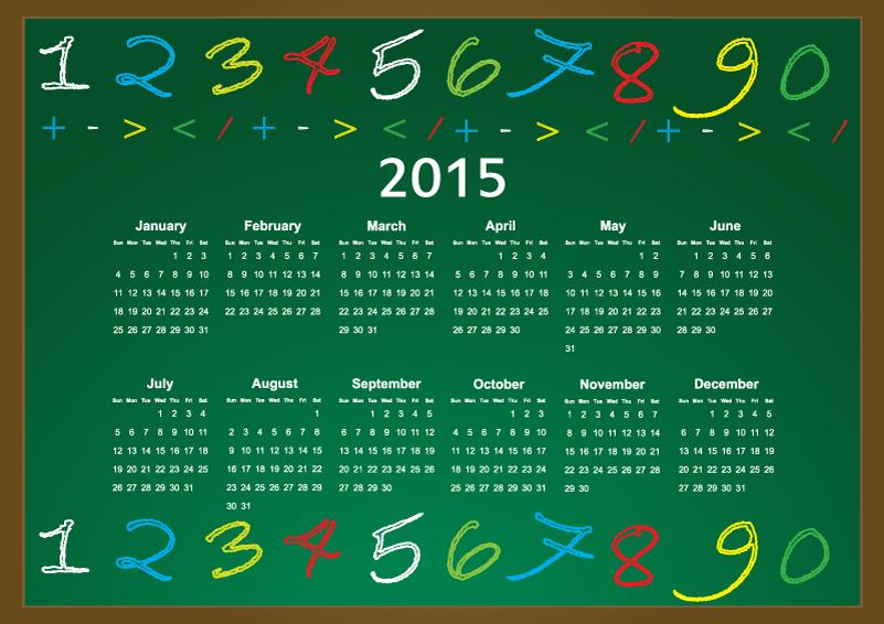 Chalk Calendar 2015 Vector
