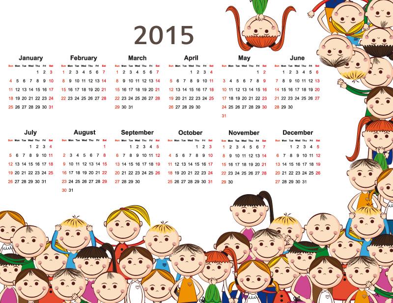 Child Calendar 2015 Vector