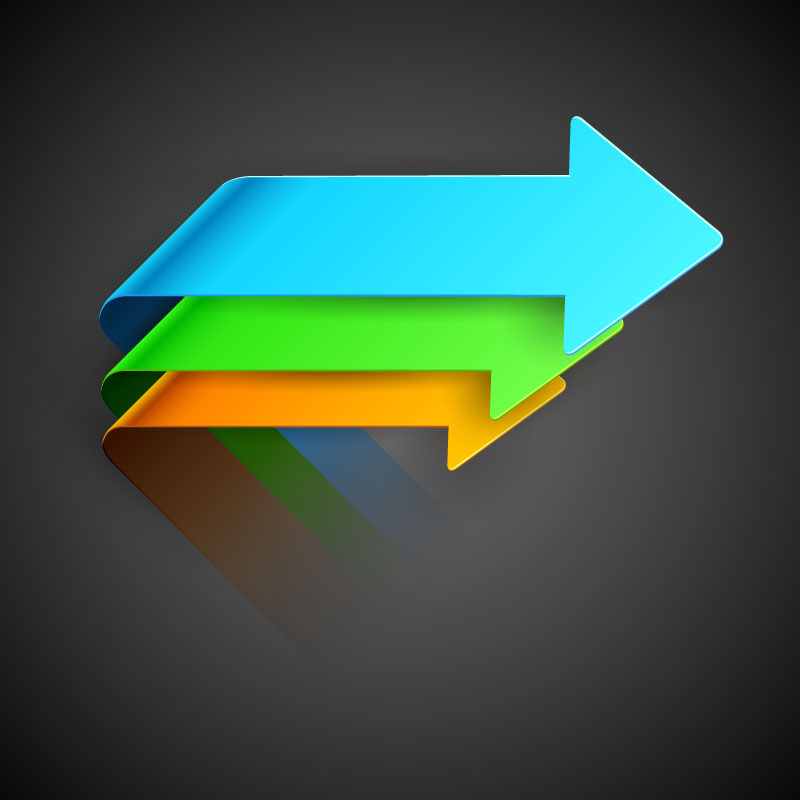 Color Origami Arrow Design Vector