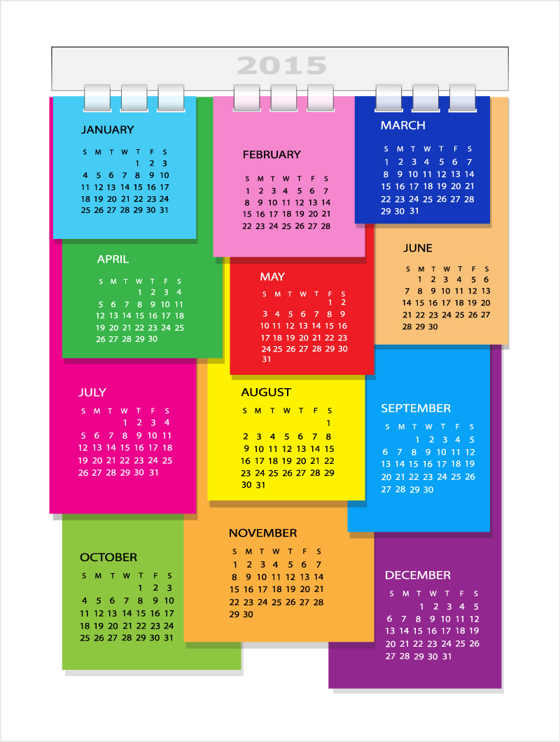 Color Stickers Calendar 2015 Vector