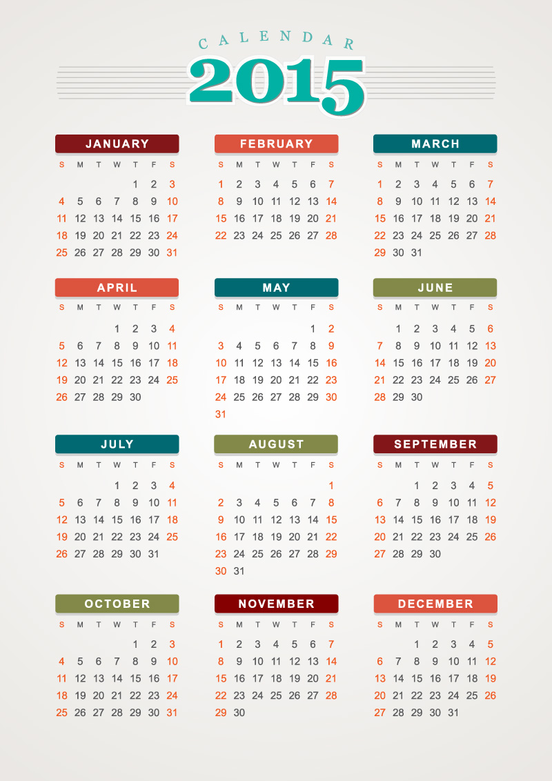 Colorful Line Calendar 2015 Vector