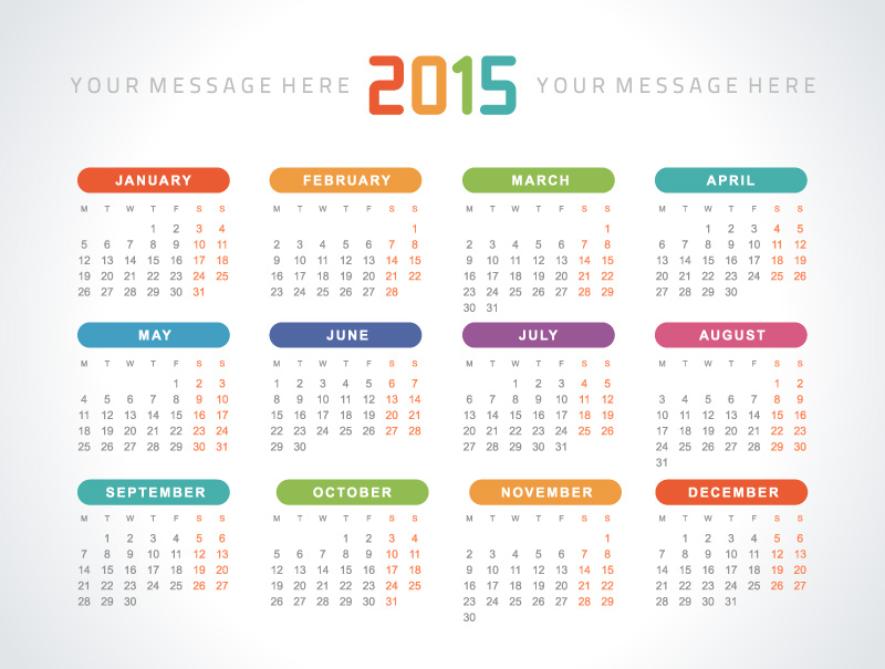 Colorful Rounded Rectangle Calendar 2015 Vector